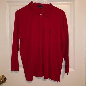 NWT Women Red Long Sleeve Ralph Lauren Sport Shirt